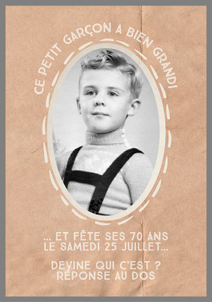 Brown Old Child's Picture Birthday Invite  Invitation à une fête