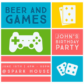 BEER AND GAMES Bachelorette Party Invitation