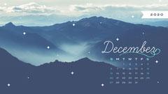 White and Blue Winter Mountain December Calendar Desktop Wallpaper Mountains
