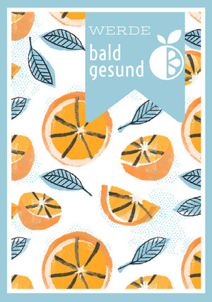 orange patterned get well soon cards Genesungskarte