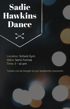 Black and White, Dark Toned Dance Event Poster School Dance Flyer