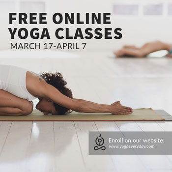 Free Online Yoga Classes Instagram Post with Women doing Yoga COVID-19
