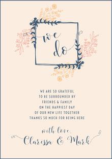 floral frame wedding thank you card Wedding Thank You  Card