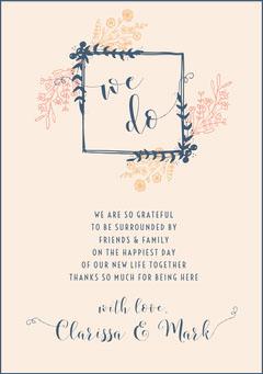 floral frame wedding thank you card Frame