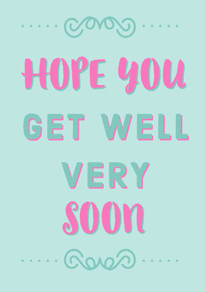Pink and Blue Get Well Soon Card God bedring-kort