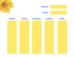 White and Yellow Empty Schedule College Schedule