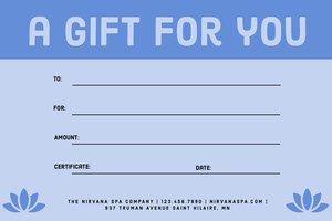 Blue Simple Massage Gift Certificate  Massage Gift Certificate