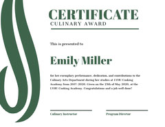 Green Culinary Award Certificate Cooking