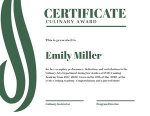 Green Culinary Award Certificate Certificat