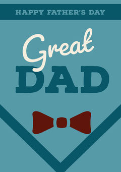 Blue Fathers Day Card with Bow Tie Seasonal
