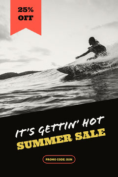 Black Summer Sale Ad with Surfer Surfing in Sea Wave