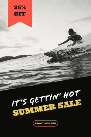 Black Summer Sale Ad with Surfer Surfing in Sea Bon