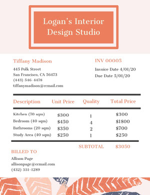 Orange Interior Design Studio Invoice 청구서