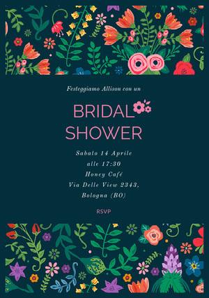 colorful floral wedding invitations  Invito per bridal shower