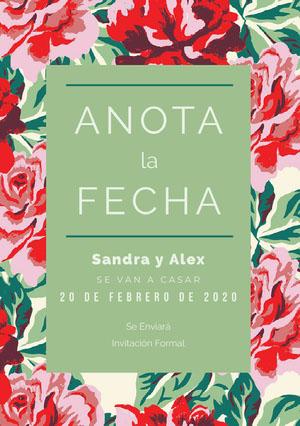 floral pattern save the date  Guardar la fecha