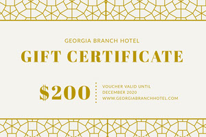 Gold Decorative Pattern Hotel Voucher Coupon Bon