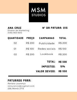 advertising studio invoice  Fatura