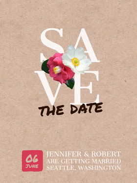 Beige Save the Date Wedding Invitation Card with Flowers Save the date-kaart