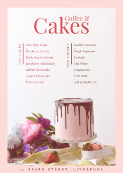 Pink and White Cafe Menu Cakes