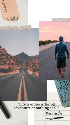 Travel Instagram Story with Quote and Collage Desert