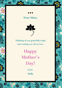 Mothers Day Card with Teal Floral Frame Mother's Day Card