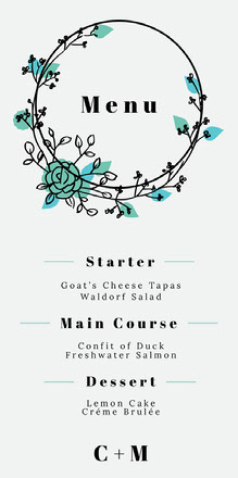 Green Floral Wreath Wedding Menu Menu bruiloft