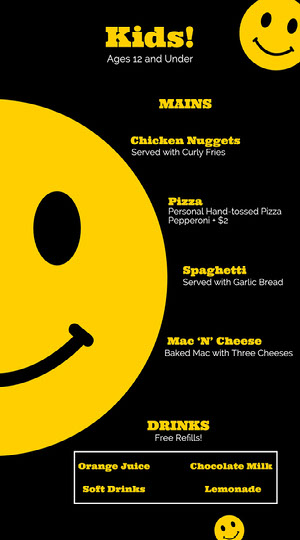 Bold Black and Yellow Kids Menu Kids Menu