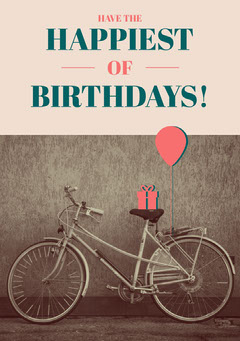 Pink Rustic Happy Birthday Card with Bicycle Birthday