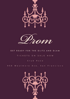 Pink and Violet Prom Poster School Dance Flyer
