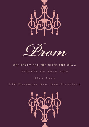 Pink and Violet Prom Poster Prom Posters
