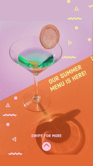 Violet and Orange Summer Menu Social Post Drink Menu