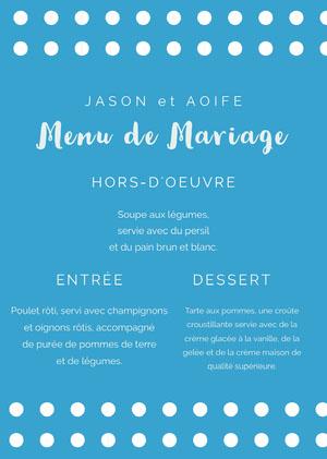 polka dotted wedding menu Menu