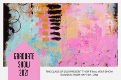 Abstract Pink & Black Painting Graduate Show Postcard  Art Show