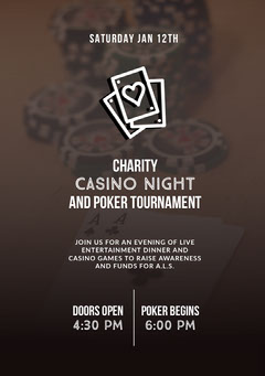 Grey and White Charity Casino Night Poster Game Night Flyer