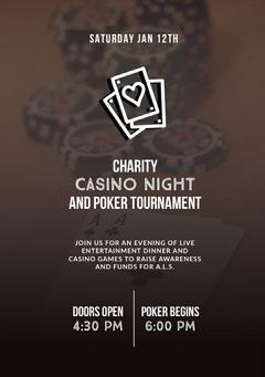 Grey and White Charity Casino Night Poster Casino