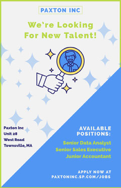 White and Blue Looking New Talent Job Poster Job Poster