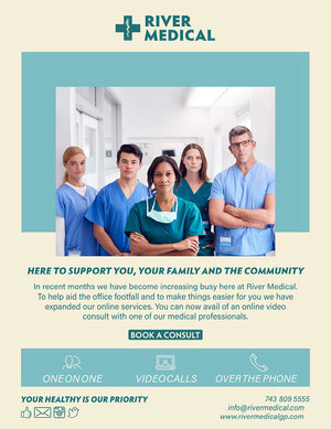 yellow blue healthcare medical services digital newsletter  Newsletter Examples