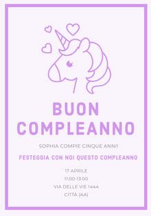 purple hearts unicorn birthday cards Biglietto di compleanno
