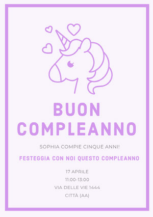 purple hearts unicorn birthday cards Biglietto di auguri con unicorno
