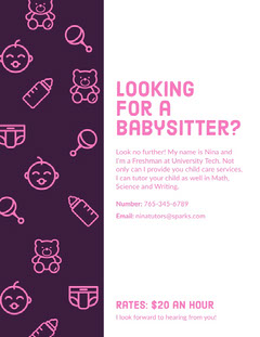White, Pink and Purple Babysitter Offer Ad Flyer Tutor Flyer