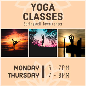 Beige Yoga Class Instagram Square Ad Yoga Posters