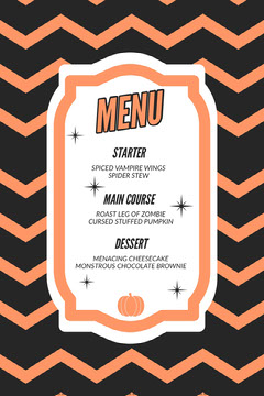 Orange Zig Zag Halloween Party Menu Halloween Party Menu