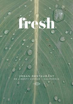 White, Wet Green Leaf, Vegan Restaurant Ad, Flyer Vegan