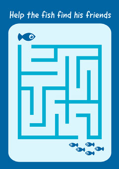 Blue Help the Fish Maze Worksheet - A4  Fish