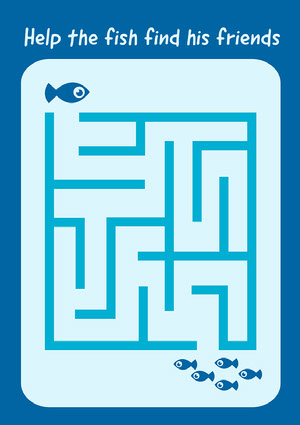 Blue Fish Maze Worksheet Fiche d'exercices