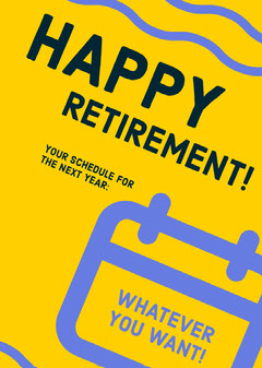 Blue and Yellow, Flashy Retirement Wishes Card Retirement Party Invitation