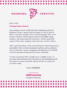Pink Dots Creative Agency Recommendation Letter Carta