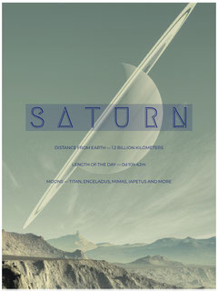 Pale Green Outer Space Style Saturn Educational Flyer Space