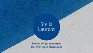 Blue and White Interior Design Consultant Business Card Tarjeta de visita