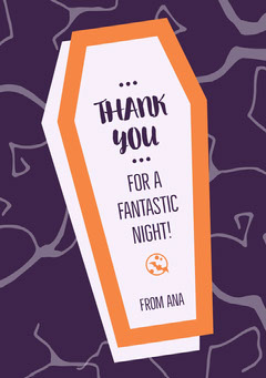 Drop Dead Halloween Coffin Party Thank You Card Halloween Party Thank you Card